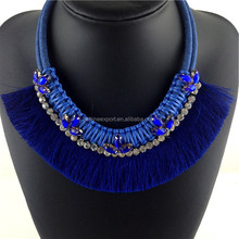2015 Summer Fashion jewelry statement necklace crystal &tassel handmade double layered jean chain necklace