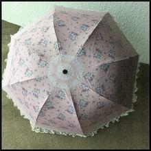 Pink flower printed princess umbrella Apollo folding lace umbrella