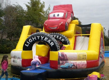 2015 Cheap Inflatable Slide With Car Model , Kids Used Inflatable Dry Slide, Car Playground Inflatable Slide For Sale