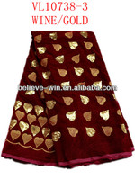 African velvet lace fabric good material newest design VL10738-3