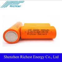 Richter brand lithium 26650 battery for power tools ifr26650 battery 3.2v 3000mah battery