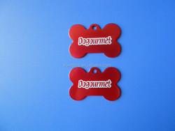 Red bone shape laser logo tag/dog tag for sale/anodized aluminum dog tag