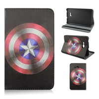 Captain America Logo Flip Folio Stand PU Leather Tablet Case for Samsung Galaxy Tab 3 Lite T110 7 Inch