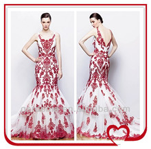 Mermaid Court Train Embroidery Red And White Wedding Dresses
