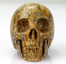 wholesale reiki products 3 inch Leopard Skin Jasper skull reiki stones skulls