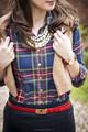 2015 nuevo estilo floral brazalete de verificación diseñador camisa de la mujer