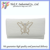 Elegant Butterfly studs PU Leather White Color Women Long Wallet