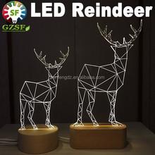 Dimmable 3D led reindeer, bedroom night light for kids