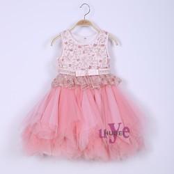 Romantic ball gown flower girl dresses pink formal kids princess wedding dresses