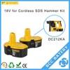 Dewalt battery replacement 18v Ni-Cd for DC212KA Cordless SDS Hammer Kit