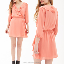 Long sleeve special neckline orange made in china casual dress
