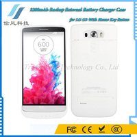 White 3200mAh Backup External Battery Charger Case for LG G3 With Home Key Button