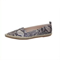 High quality best selling Cheap women's shoes synthetic snake skin pu leather casual shoes for ladies