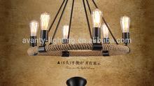 Araña de cuerda jaula redonda iluminación pendiente vintage lámparas de diseño
