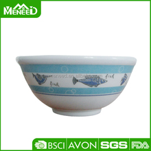 Fish printed melamine food bowl box, insulated based plastic round bowl for promotion