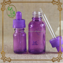 For female 10ml 30ml purple glass dropper bottle for e-liquid with child safety cap