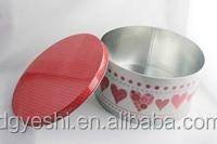 Decorative olive oil tin can, round tin box