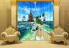 Hottest European window curtains 3D digital curtain Printed high Density 100% shading blackout