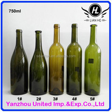Wholesale 750ml green/amber glass red wine bottle
