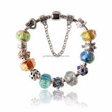 2015 Homemade Crystal Beads Bracelet Charm Murano Glass European Charm Beads Style Bracelets For Valentine's Day Gift