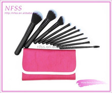 Fashion brush factory cosmetic brush 10pcs fade grey make up brushes red cosmtic bag