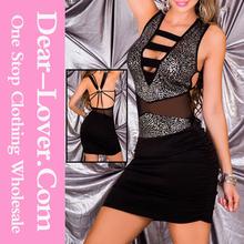 New Fahsion dames élégant argent Leopard manches Mini Club dessous du genou robes de cocktail