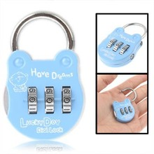 3 Digit Resettable Combination Security Travel Lock (Baby Blue)