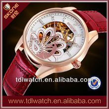 Alibaba Express Genuine Leather Nice Peacock Dial Ladies Mechanical Watch