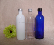 cosmetic 200ml flask cobalt blue rose water glass bottle