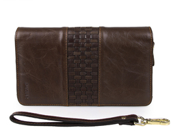 8021C-1 Classic Coffee Vintage Leather Mini Wallet Purse Key Case Men's Customized Clutch Bag With Logo