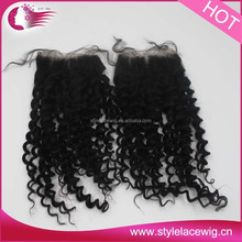 Lace Closure free Part 100% Virgin Human Hair mongolian curly closure