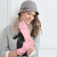 fashion girl's beads adornments falbala wristband wool gloves