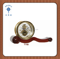 Chinese Tourbillon machanical untique desk clock with solid wood