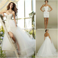 NEW Sweetheart Two Piece Lace Short/Mini Detachable Train Tulle Wedding Dresses FMG02