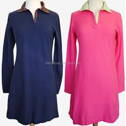 Polo Dress with Stripe,women Classic polo shirt style fall dress garment factory
