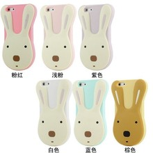 Customized 3D Cartoon Silicone Rubber Rabbit Shaped Cute Phone Case for iphone 5