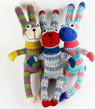 soft stuffed DIY cartoon sock plush toys handmade stuffed plush toy/plulsh sock rabbit animal toys