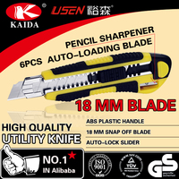 Stationery Cutter 6 PCS Auto Loading 18mm Snap Off Blade Plastic with rubber grip handle sharpenper Utility Knife