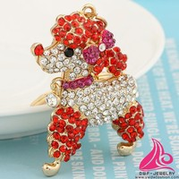 New Arrival Brand Animal Rhinestone Keyring Fashion Creative Lovely Pet Dog Keychain