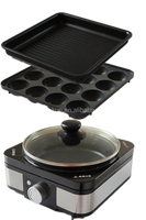 Multi electric cooker with grill plate & takoyaki plate & flat plate