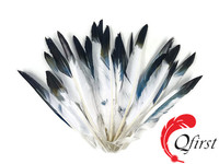 Wholesale imitation eagle plumes dyed black tipped white duck pointer wing feathers for hat