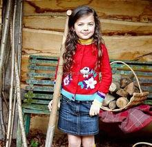 bird flower pattern girl's cotton sweater, girls stylish sweaters