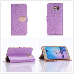 Pink Color Bling Glitter Leather Wallet Case Cover For galaxy s6