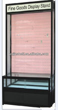 Wall mounted metal hook display stands with glass cabinet