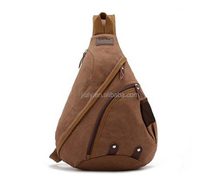hot sell canvas men triangle bag with messenger