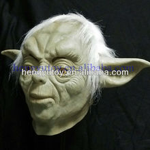 Deluxe Adult Latex Overhead Mask with Hair Movie Theme Halloween Costume Theater Prop Novelty Jedi Master Yoda Mask for Party