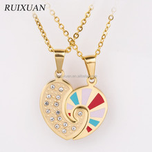 Necklace New design fashion stainless steel sweet splicing heart couple love knot pendant