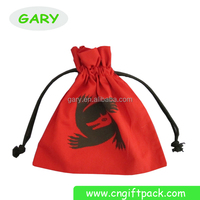 Custom Printed Red Plain Cotton Drawstring Toy Cosmetic Skin Care Gift Bags Pouches