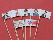 22 X ONE DIRECTION ONE D 1 DIRECTION CUPCAKE FLAGS TOOTH PICKS