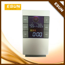 Factory supply 2015 ESUN Cheapest weather station digital desktop alarm clock with color screen/Weather station clock/gift